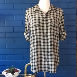 Equipment black checker silk blouse
